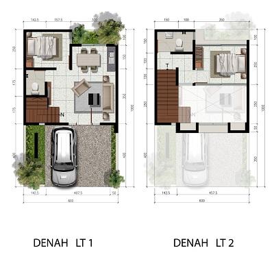 Tipe 6 x 10 Spesifikasi 2 Bedroom